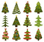 Big Set Christmas Tree Symbols With Without Decor. Abstract spruces with garlands and toys, topped by hat or star vector on white. Big set of Christmas tree Stock Image