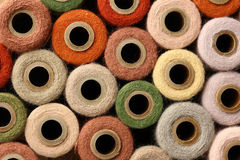 Abstract Square Background Collection of Antique Thread Spools Royalty Free Stock Photo
