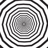 Abstract square background with polygonal black and white swirl, helix or vortex. Backdrop with psychedelic rotating Stock Photo