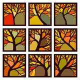 Abstract square badges framed autumn trees with branches. Set of square badges autumn trees with branches in frame like stained glass vector illustration