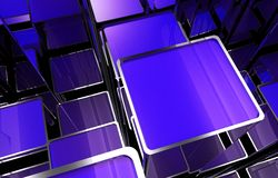 Abstract Square Bars. Abstract Blue Metallic Square Bars Growing Up. Concept 3D Illustration Royalty Free Stock Photos