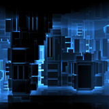 Abstract square black high-tech neon interior 3d Stock Photos