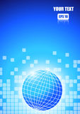 Abstract square blocks with world on blue background. Vector : Abstract square blocks with world on blue background stock illustration