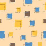 Abstract square blue yellow beige brown seamless pattern illustration Royalty Free Stock Photography