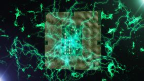 Abstract Square CPU Brain illustration. A neo-geo 3d illustration of a square shaped brain serving as a high speed CPU. It is green and made of pixels. It is stock illustration