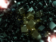 Abstract square dark background. 3D. Rendering Royalty Free Stock Photo