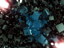 Abstract square dark background. 3D. Rendering Stock Photos