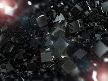 Abstract square dark background. 3D. Rendering Royalty Free Stock Image