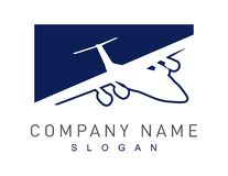 Abstract airplane logo on a white background stock illustration