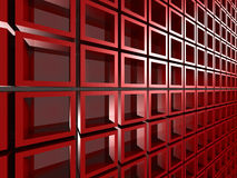 Abstract Square Design Architecture Red Background. 3d Render Illustration Stock Images