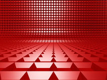 Abstract Square Design Architecture Red Background. 3d Render Illustration Royalty Free Stock Images