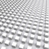 Abstract square digital background with white cubes array. 3d illustration Stock Photography