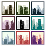 Abstract square framed icons city high-rise buildings. Royalty Free Stock Images