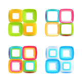 Abstract square frames isolated set. Set of four colorful glossy abstract square frame compositions isolated on white Royalty Free Stock Photo