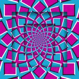 Abstract square frames with a moving blue pink pattern. Optical illusion background.  royalty free illustration