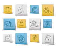 Abstract square fruit icons Royalty Free Stock Photos