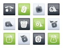 Abstract square fruit icons over color background. Vector icon set royalty free illustration