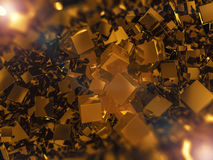 Abstract square gold background. 3D Stock Image