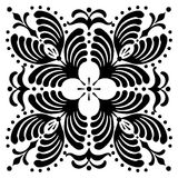 Abstract square Hungarian motifs. Black and white Stock Photos