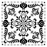 Abstract square Hungarian motifs. Black and white Royalty Free Stock Photo