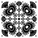 Abstract square Hungarian motifs. Black and white Royalty Free Stock Photography