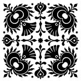 Abstract square Hungarian motifs. Black and white Stock Photo
