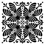 Abstract square Hungarian motifs. Black and white Stock Image