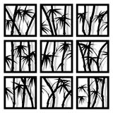 Abstract square icons framed bamboo trees. Stock Photos