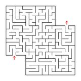 Abstract square isolated maze. Black color. An interesting and useful game for children and adults. Simple flat vector illustratio. N. With a place for your Stock Photography