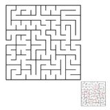 Abstract square labyrinth with a black stroke. An interesting game for children and adults. Simple flat vector illustration isolat. Ed on white background. With Stock Images