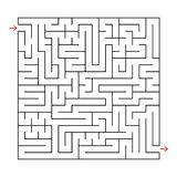 Abstract square labyrinth with a black stroke. An interesting game for children and adults. Simple flat vector illustration isolat. Ed on white background Stock Photos