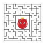 Abstract square maze with a cute color cartoon character. Cute Christmas balls. An interesting and useful game for children. stock illustration