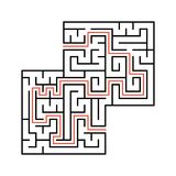 Abstract square maze with entrance and exit. Simple flat vector illustration isolated on white background. With a place for your d. Rawings. With the answer Royalty Free Stock Photos