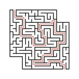 Abstract square maze with entrance and exit. Simple flat vector illustration isolated on white background. With a place for your d. Rawings. With the answer Stock Image