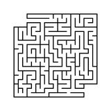 Abstract square maze with entrance and exit. Simple flat vector illustration isolated on white background. With a place for your d. Rawings Royalty Free Stock Images