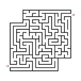 Abstract square maze with entrance and exit. Simple flat vector illustration isolated on white background. With a place for your d. Rawings Stock Photo