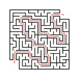 Abstract square maze with entrance and exit. Simple flat vector illustration isolated on white background. With a place for your d. Rawings. With the answer Stock Photo