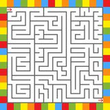 Abstract square maze in a frame of bright squares. An interesting game for children and teenagers. Simple flat vector illustration. Isolated on white background Stock Photo