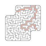 Abstract square maze. Game for kids. Puzzle for children. One entrance, one exit. Labyrinth conundrum. Flat vector illustration. Isolated on white background stock illustration