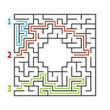 Abstract square maze. Game for kids. Puzzle for children. Three entrance, one exit. Labyrinth conundrum. Flat vector illustration. Isolated on white background vector illustration