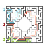Abstract square maze. Game for kids. Puzzle for children. Three entrance, one exit. Labyrinth conundrum. Flat vector illustration. Isolated on white background stock illustration