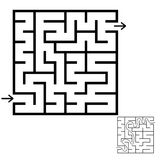 Abstract square maze. An interesting game for children and teenagers. Simple flat vector illustration isolated on white background. With the answer Stock Photo
