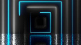 Abstract square neon tunnel with reflection, computer generated background, 3D rendering. Abstract square neon tunnel with reflection, computer generated royalty free illustration