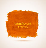 Abstract square orange watercolor hand-drawn. Banner. Vector illustration Royalty Free Stock Images