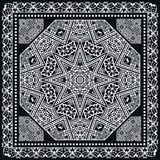 Abstract square pattern with geometric ornament, black bandanna shawl print Stock Photo