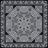 Abstract square pattern with geometric ornament, black bandanna shawl print Stock Photo