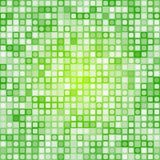 Abstract square pixel mosaic background. Abstract Green Square Pixels and Round Dots Mosaic vector background stock illustration