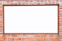 Abstract square red brick wall with white empty space for design Stock Photography