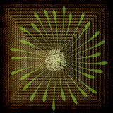 Abstract: Square Rows-Burlap, Green Flower  Royalty Free Stock Photography