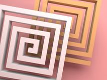 Abstract square spirals over pink. Background, 3d render illustration Stock Photography